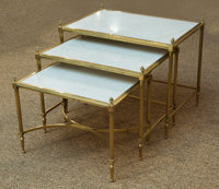 A Trio of Louis XVI-Style Gilt Bronze and Marble Nesting Table, late 20th century 19 h x 23 w x 16 d inches (48.3