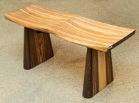 A California Modern Zebrawood Two Seat Bench, early 21st century 19 h x 42 w x 16 d inches (48.3 x 106.7 x 40.6 cm