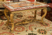 A Fine Italian Louis XIV-Style Carved Giltwood Salon Table with Specimen Marble Top, early 18th century 32 1/2 h