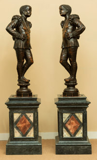 A Pair of Venetian Carved Walnut Blackamoor Figures with Faux Marble Pedestals, early 20th century 66-1/2 h x 15-