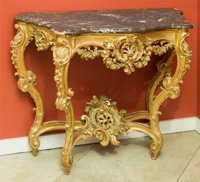 A Louis XV-Style Carved Giltwood Console with Marble Top, late 19th century 35-1/2 h x 48 w x 22 d inches (90.2 x