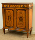 Furniture : English, An Edwardian Adam-Style Inlaid and Penwork Satinwood Cabinet, early 20th century. 43-1/2 h x 37-1/2 w x 17-1/2 d inches (110...
