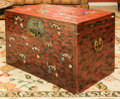 Asian:Chinese, A Chinese Red Lacquered Chest with Inlaid Mother-of-Pearl andHardstone Bats and Peaches. 24 h x 37 w x 24-1/2 d inches (61....