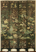 Asian:Chinese, A Chinese Incised, Painted and Lacquered Floor Screen, 18thcentury. 91-1/2 h x 64 w x 1 d inches (232.4 x 162.6 x 2.5 cm). ...