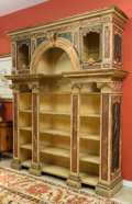 Furniture : Continental, An Italian Neoclassical Faux Marble Painted Wood Bibliotheca, 19thcentury. 106 h x 88 w x 22 d inches (269.2 x 223.5 x 55.9...