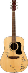 Music Memorabilia:Memorabilia, Talking Heads Signed Washburn D-10-N Natural Acoustic Guitar Serial # 94070565....