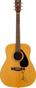 Music Memorabilia:Memorabilia, Jewel Signed Yamaha F-310 Natural Acoustic Guitar and SignedTambourine.... (Total: 2 Items)