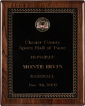 Baseball Collectibles:Others, 2009 Monte Irvin Chester County Sports Hall of Fame Plaque from TheMonte Irvin Collection. ...