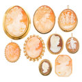 Estate Jewelry:Cameos, Shell Cameo, Gold Jewelry. . ... (Total: 9 Items)