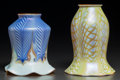 Art Glass:Other , Quezal and a Lustre Art Lustre Glass Shades. Circa 1915 and later.Engraved Quezal; Lustre Art. Ht. 4 in. (taller, Q...(Total: 2 Items)