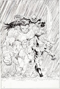 Original Comic Art:Covers, John Romita Jr. and Klaus Janson Incredible Hulk #608 Variant Cover Original Art (Marvel, 2010)....