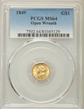 Gold Dollars, 1849 G$1 Open Wreath, D-4, Close Stars, MS64 PCGS....