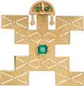Jewelry, A Columbian Emerald, Gold Pendant-Brooch. DIMENSIONS: 1-13/16 inches x 1-3/4 inches. GROSS WEIGHT: 10.70 grams. The pre-Co...