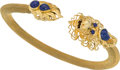 Estate Jewelry:Bracelets, A Lapis Lazuli, Gold Bracelet with Dragon Design. DIMENSIONS: 8inches x 3/4 inch. GROSS WEIGHT: 25.60 grams. A 14K yellow g...