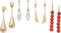 Jewelry, Four pairs of 14K Gold Earrings with Coral and Aquamarine. DIMENSIONS: 1-3/4 inches x 5/8 inch to 2-1/2 inches x 1/4 inch. G... (Total: 6 Items)