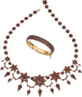 Jewelry, A Bohemian Garnet Jewelry Suite. NECKLACE DIMENSIONS: 20 inches x 2-1/8 inches. BRACELET DIMENSIONS: 7 inches x 3/8 inch. GR... (Total: 2 Items)
