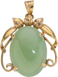 Jewelry, A Jadeite Jade, Gold Pendant. DIMENSIONS: 1-1/8 inches x 7/8 inch. GROSS WEIGHT: 5.40 grams. A 14K yellow gold pendant/brooc...