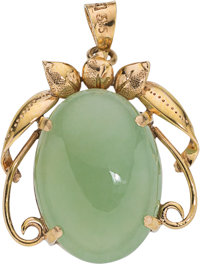 A Jadeite Jade, Gold Pendant DIMENSIONS: 1-1/8 inches x 7/8 inch GROSS WEIGHT: 5.40 grams  A 14K yellow gold pend