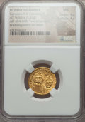 Ancients:Byzantine, Ancients: Constans II Pogonatus (AD 654-668), with Constantine IV.AV solidus (4.32 gm). NGC MS 4/5 - 4/5....