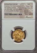 Ancients:Byzantine, Ancients: Constans II Pogonatus (AD 654-668), with Constantine IV.AV solidus (4.47 gm). NGC MS 5/5 - 3/5....