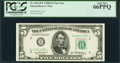 Small Size:Federal Reserve Notes, Fr. 1963-B* $5 1950B Federal Reserve Star Note. PCGS Gem New 66PPQ.. ...