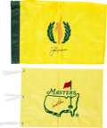Autographs:Others, 2000's Jack Nicklaus & Arnold Palmer Signed Golf Flags Lot of 2from The Gary Carter Collection. ...