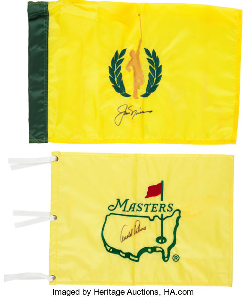 5aceff93cd5 ... Autographs:Others, 2000's Jack Nicklaus & Arnold Palmer Signed Golf  Flags Lot of ...