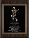 Baseball Collectibles:Others, 1981 Gary Carter Canadian Baseball Man of the Year Award from TheGary Carter Collection. ...