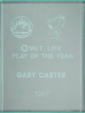 Baseball Collectibles:Others, 1987 Gary Carter Met Life Play of the Year Award from The GaryCarter Collection. ...