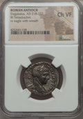 Ancients:Roman Provincial , Ancients: SYRIA. Antioch. Elagabalus (AD 218-222). AR tetradrachm.NGC Choice VF....