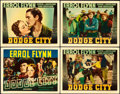 "Movie Posters:Western, Dodge City (Warner Brothers, 1939). Linen Finish Title Lobby Cardand Lobby Cards (3) (11"" X 14"").. ... (Total: 4 Items)"