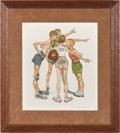 """Basketball Collectibles:Others, 1970's """"Four Sporting Boys: Basketball"""" Print Signed by NormanRockwell from The Gary Carter Collection. ..."""