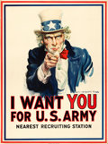 """Movie Posters:War, World War I Propaganda by James Montgomery Flagg (Leslie-Judge Co., 1917). Recruitment Poster (30"""" X 40""""). """"I Want You for t..."""