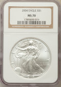 Modern Bullion Coins: , 2004 $1 Silver Eagle MS70 NGC. NGC Census: (2658). PCGS Population: (1102). ...