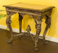Furniture : Continental, An Italian Rococo-Style Distressed Polychrome Walnut Table withInset Marble Top, 19th century. 29 h x 30-1/2 w x 24 d inche...