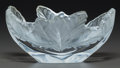 Art Glass:Lalique, Lalique Clear and Frosted Glass Chenes Bowl. Late 20thcentury. Engraved Lalique, France. L. 7-3/4 in.. ...