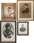 Judaica:Graphics and Decorations, MODERN JUDAICA. Lot of four framed paintings and lithographs. ... (Total: 4 Items)
