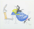 Animation Art:Production Drawing, Virgil Ross Broomstick Bunny Inspired Bugs Bunny and WitchHazel Illustration Original Art (Warner Brothers, c. 19...