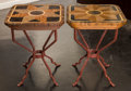 Furniture : American, A Pair of Faux Parquetry Painted Side Table with Metal Bases, late20th century. 26-3/8 h x 20 w x 20 d inches (67.0 x 50.8 ...(Total: 2 Items)