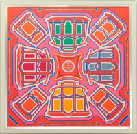 A Large Framed Hermes Les Berliners Silk Scarf, early 21st century 57 x 58 inches