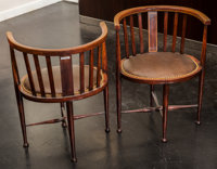 A Pair of Edwardian Inlaid Mahogany Barrel-Back Chairs, early 20th century 27 h x 21 w x 17 d inches (68.6 x 53.3