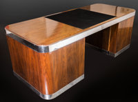 A Brueton Furniture Modern Chrome and Walnut Executive Desk, circa 1975 30 h x 84 w x 36 d inches (76.2 x 213.4 x