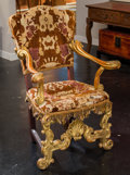 Furniture : French, A Louis XIII-Style Carved Giltwood and Upholstered Fauteuil a laReine. 43-1/4 h x 28 w x 20-1/2 d inches (109.9 x 71.1 x 52...
