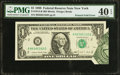 Error Notes:Foldovers, Fr. 1914-B $1 1988 Federal Reserve Note. PMG Extremely Fine 40EPQ.. ...