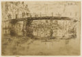 Prints, JAMES ABBOTT MCNEILL WHISTLER (American 1834-1903). Bridge, Amsterdam, 1889. Etching. 6-1/2 x 9-1/2 inches (16.5 x 24.1 ...