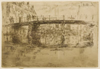 JAMES ABBOTT MCNEILL WHISTLER (American 1834-1903) Bridge, Amsterdam, 1889 Etching 6-1/2 x 9-1/2