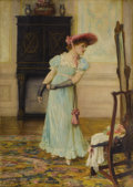 Fine Art - Painting, European:Antique  (Pre 1900), FRANCIS SYDNEY MUSCHAMP (British 1851-1929). Preparing to Depart. Oil on canvas. 14-1/8 x 10-1/8 inches (35.9 x 25.7 cm)...
