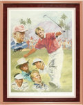 Golf Collectibles:Autographs, 1992 Bob Hope Classic Multi-Signed Lithograph. John Cook'semergence from the five-person playoff that was needed to decide...