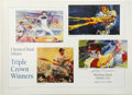 Autographs:Letters, Leroy Neiman Signed Triple Crown Poster. A poster by Leroy Neimanhonoring Triple Crown winners Ted Williams, Frank Robinso...