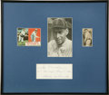 Autographs:Index Cards, Joe Oeschger Signed Display. Joe Oeschger elevated himself into theannals of baseball lore on May 1, 1920 when he pitched ...